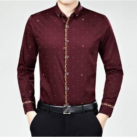 2016春季新款男士长袖衬衫印花男式长袖衬衫丝光棉男装衬衣免烫