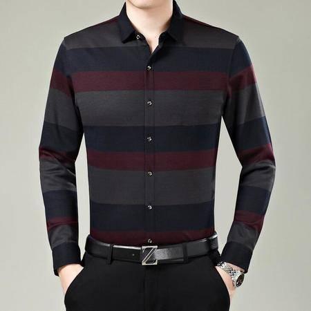 2016春季新款男式衬衫男装条纹长袖 品牌商务中年男士衬衣