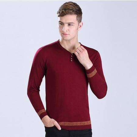 2016年秋季新款男式针织衫V领韩版男士提花针织线衫潮男装