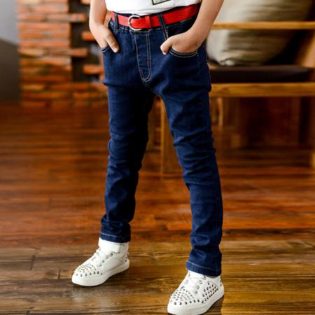 童装2016春款送腰带款跑量牛仔裤 男童纯色弹力小脚裤