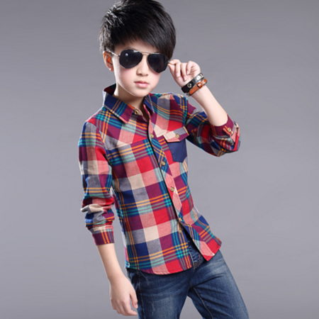 2016儿童长袖衬衫 韩版中大男童新款格子长袖衬衣