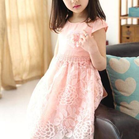2016夏季新款韩版女童 蕾丝胸花连衣裙