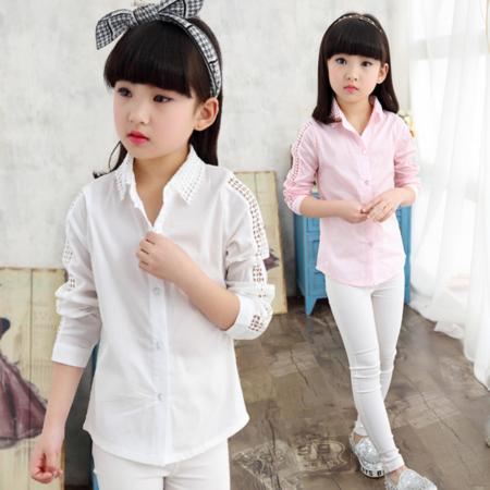 女童打底衫韩版2016春装衬衣新款上衣长袖公主蕾丝外搭衬衫