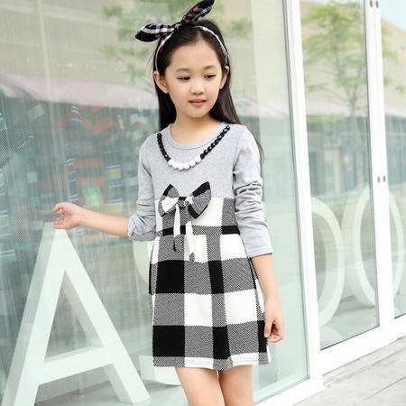 2016春季新款韩版时尚女童格子公主连衣裙