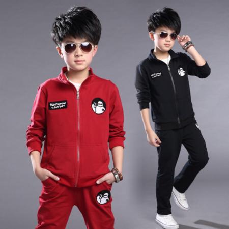 童装 男童套装2016韩版中大童长袖两件套儿童新款卡通大白童套装