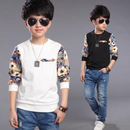 童装T恤2016春款童装韩版中大童男童长袖T恤 儿童花袖子童打底衫