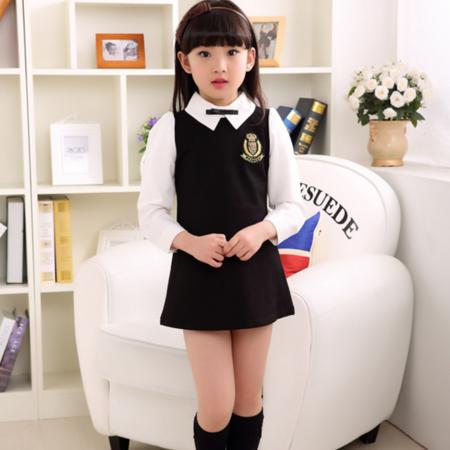 春款童装2016新款儿童韩版童裙女童学院连衣裙A字裙