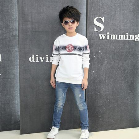 春季新款男童t恤 韩版儿童长袖打底衫 字母印花圆领t恤