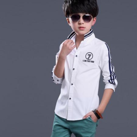 2016新款韩版男童春装纯棉衬衫纯色翻领字母印花韩版长袖衬衫款