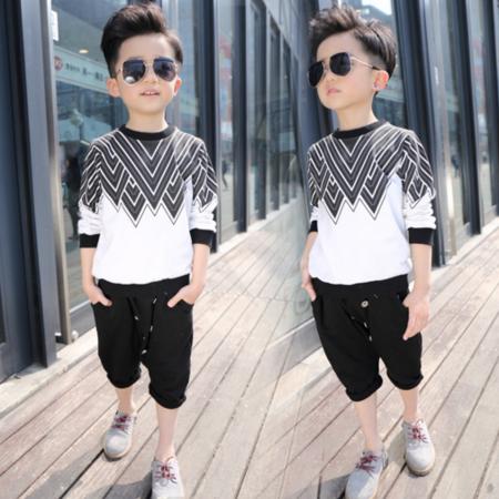童装春款 韩版男童T恤 中大童纯棉打底T恤 儿童条纹长袖T恤