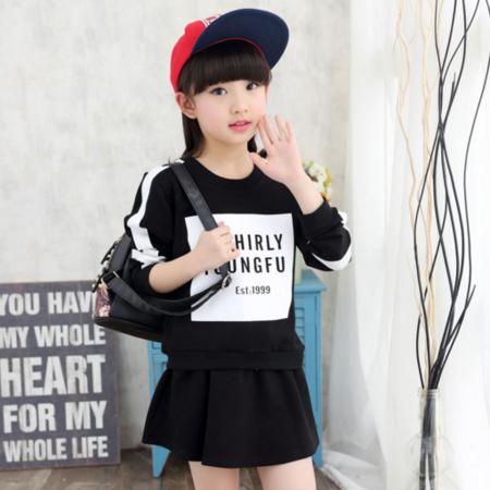 2016新品童装中大童女童套装春秋装纯棉字母运动套装韩版