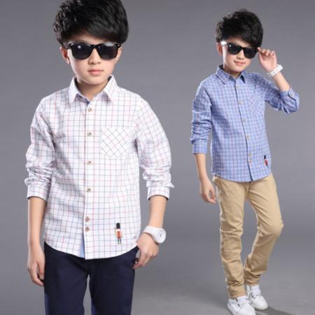 男童衬衫2016韩版上衣春装中大童格子长袖休闲衬衣