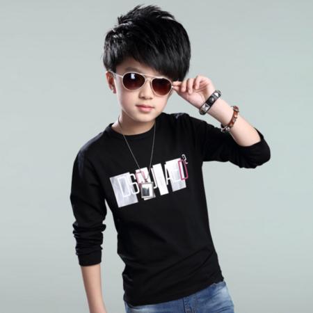 2016春季新款男童中大童字母印花圆领长袖T恤
