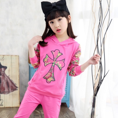 春款儿童两件套 2016童装女童新款韩版 中大童春装优质时尚套装