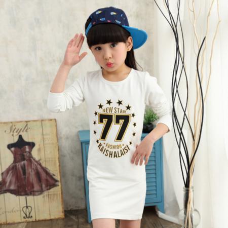 童装中大童上衣 儿童春秋圆领纯棉T恤女童长袖韩版打底衫