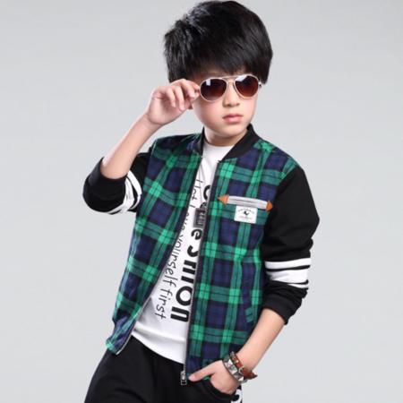 春季男童格子外套 春秋装韩版中大童儿童运动开衫夹克