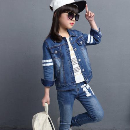 童装新款2016春装男女童套装韩版潮儿童印花牛仔中大童运动两件套
