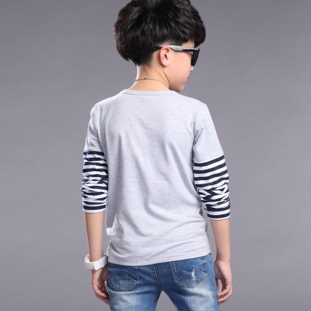 儿童长袖t恤 2016春款韩版童装新品 男童拼接条纹袖圆领长袖T恤