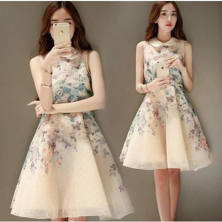 2016春季花色印花无袖通勤短裙娃娃领中腰套头常规韩版破洞