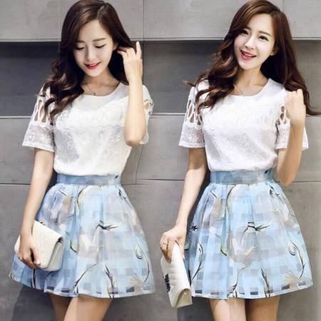 2016春夏新款韩国两件套裙子 高腰连衣裙修身套装蓬蓬裙