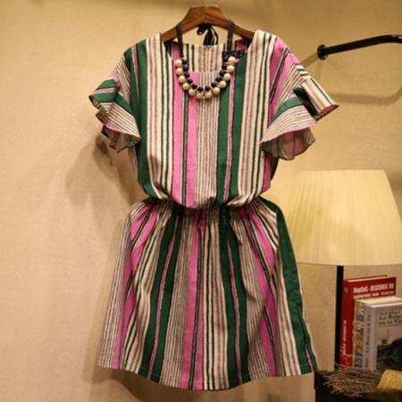 棉麻大码女装条纹撞色显瘦加大码连衣裙胖MM荷叶袖女裙