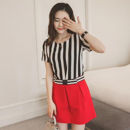 2016夏装韩版新款短袖竖条雪纺衫+红色短裙时尚套装女