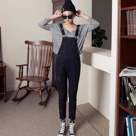 2016新款韩国街头潮女牛仔背带裤 牛仔连体裤 女长裤