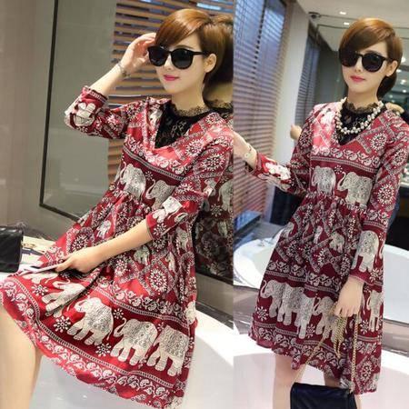 欧洲站2016夏季新款假两件蕾丝立领七分袖印花连衣裙子