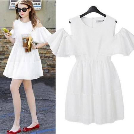 夏季雪纺裙露肩显瘦荷叶边连衣裙白色小清新蓬蓬裙