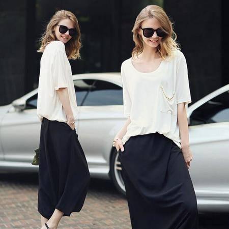 2016夏宽松雪纺裙裤短袖套装女时尚欧美两件套女装