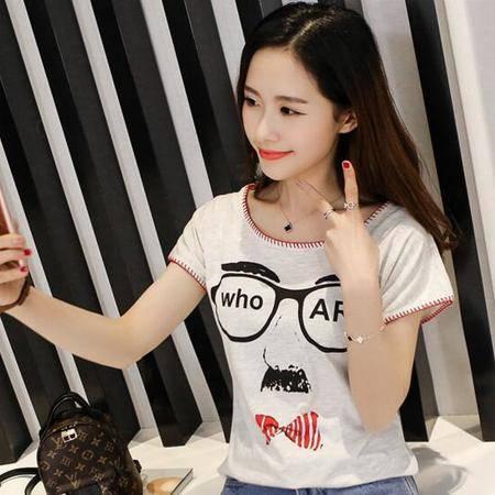 夏季韩版复古原宿BF风学生上衣 大码宽松印花短袖T恤女夏潮