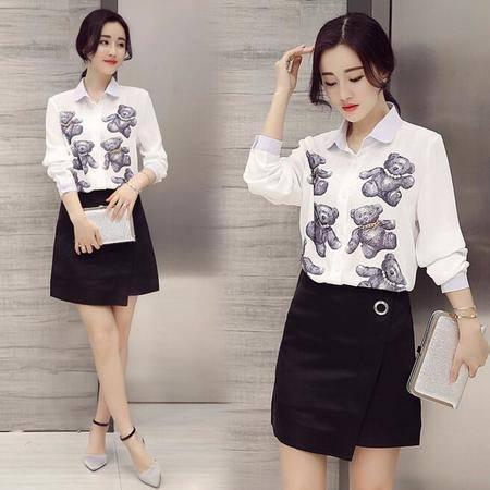 2016春装韩版新款泰迪熊印花钉珠长袖雪纺衬衫上衣女