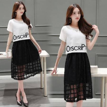 2016夏季新款韩版短袖印花欧根纱连衣裙两件套中长裙