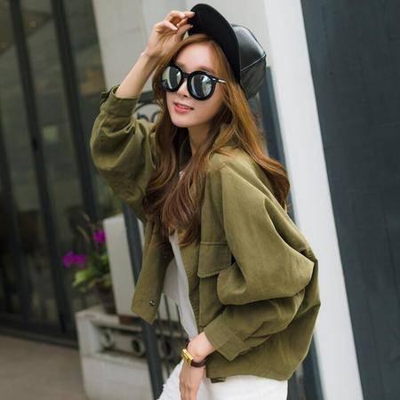2016春季新款韩版女装绒棉蝙蝠袖短外套女士外套