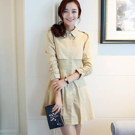 2016春装新款女装韩版风衣中长款女士修身气质外套
