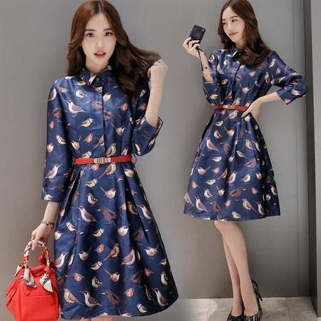 2016春装新款韩版修身连衣裙中长款女装长袖配腰带