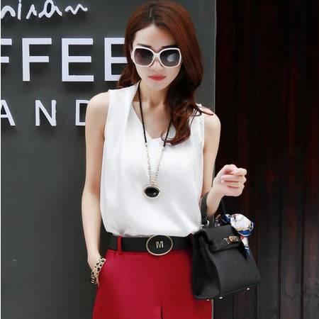 2015夏装新款韩版女装V领无袖女士时尚纯色雪纺衫