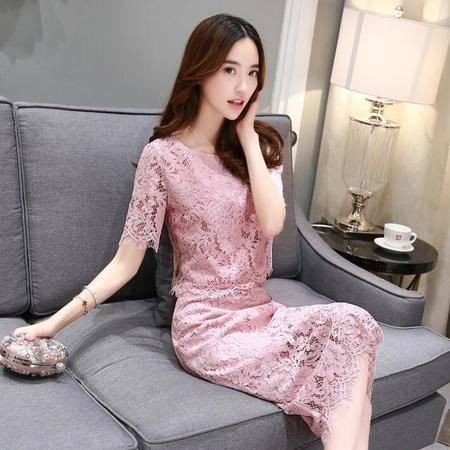 2016品牌韩版优雅蕾丝女中长款修身连衣裙两件套