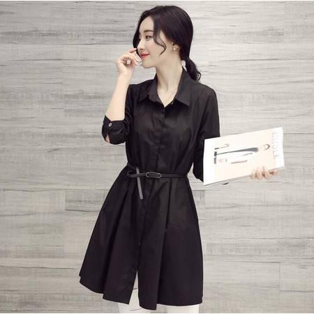 2016韩版气质时尚长袖系带OL短裙显瘦衬衫式连衣裙