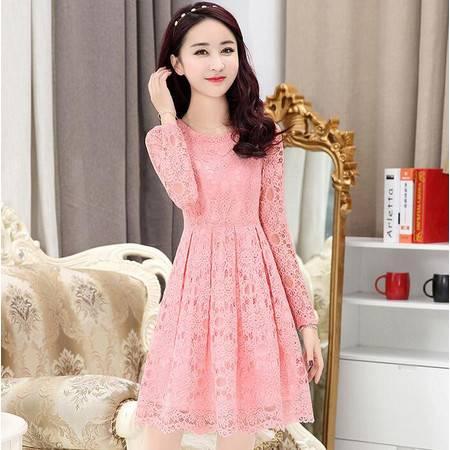 2016春夏新款女装圆领长袖蕾丝连衣裙显瘦修身气质