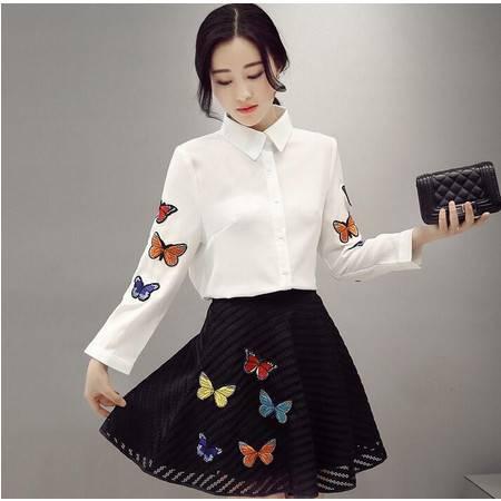 2016韩版甜美气质长袖蝴蝶刺绣时尚两件套套裙女装
