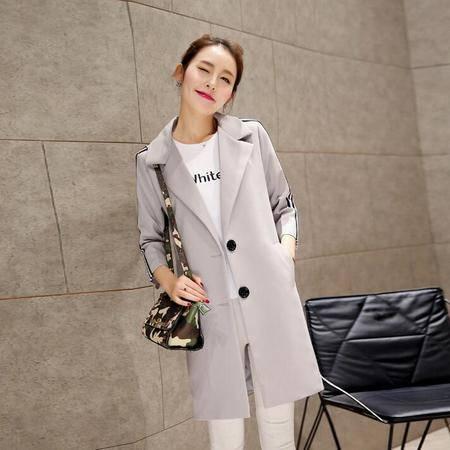 2016春季正品女装新款七分袖西装领中长款直筒风衣外套