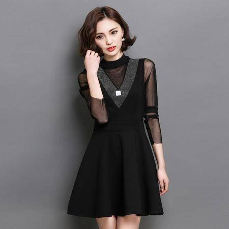 2016年新款连衣裙网纱拼接带摆中领时尚中长款包邮