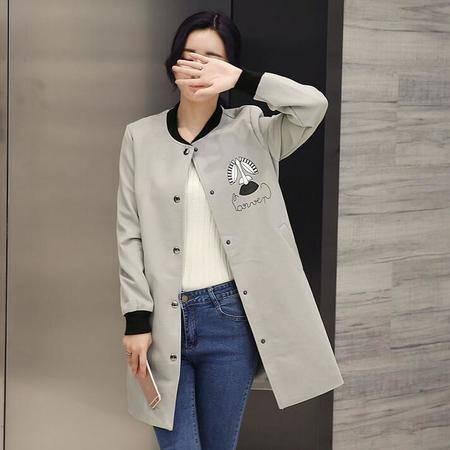 2016韩版春季单排扣青春甜美中长款年轻女生中长款风衣外套