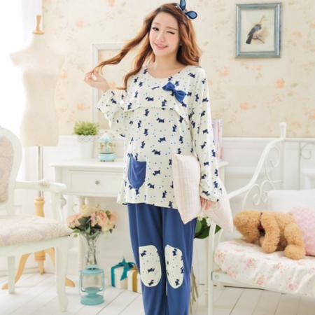 春秋纯棉月子服哺乳长袖睡衣家居服可爱产后妈妈喂奶衣外穿装