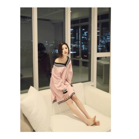 韩版性感女士长袖春秋夏学生睡裙少女舒适外穿家居服V领纯色装