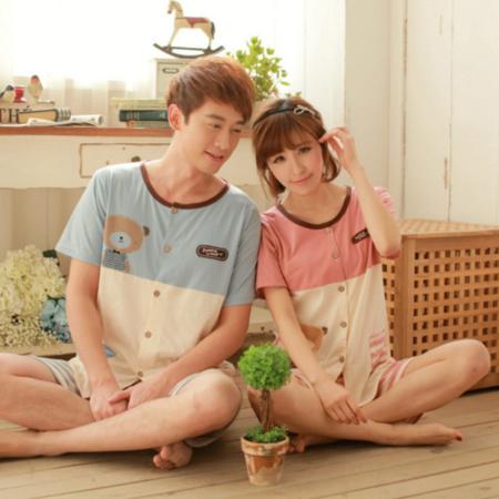 新款男女士纯棉卡通睡衣开衫夏季宽松情侣居家服可爱舒适柔软