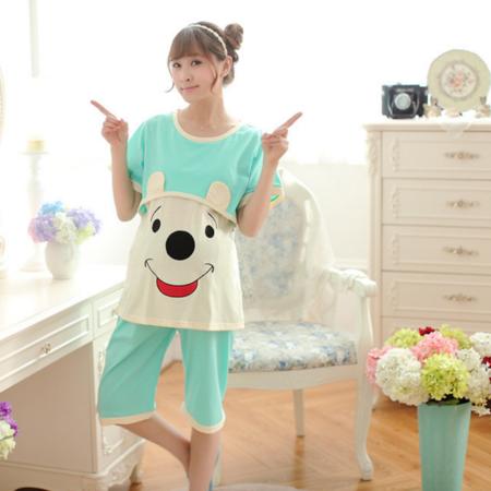 卡通女士夏季短袖睡衣月子服套装纯棉哺乳衣产后外穿喂奶加大