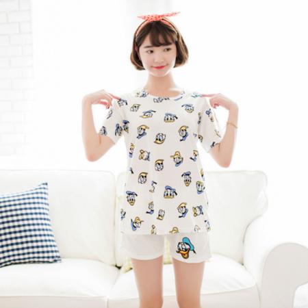 全新清新女人夏季短袖纯棉套头睡衣女可爱短裤韩版透气家居服套装