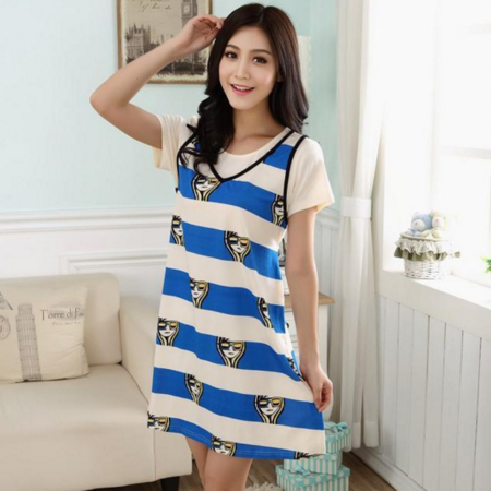 圆领套头条纹蓝色新款短袖夏季女士睡衣牛奶丝睡裙拼接休闲宽松装